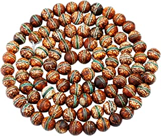 """rockcloud Green Stripe Fire Agate Loose Beads Round 8mm Approxi 14""""inch Healing Reiki Balancing Energy Stones 1 Strand for..."""