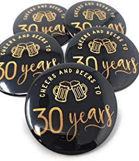 Cheers and Beers to 30 Years Pins - Set of 10-30th Birthday Party Favors