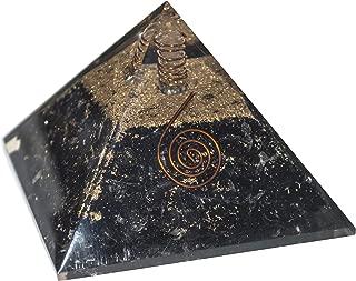 Crocon Black Tourmaline Orgone Pyramid with Crystal Point for Crystal Energy Generator Reiki Healing Balancing EMF Protection Gemstone Aura Cleansing Spiritual Meditation Wealth Decor Size: 2.5-3 Inch