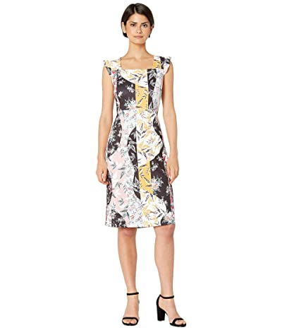 Sam Edelman Floral Stripe Scuba Dress (Ivory Multi) Women