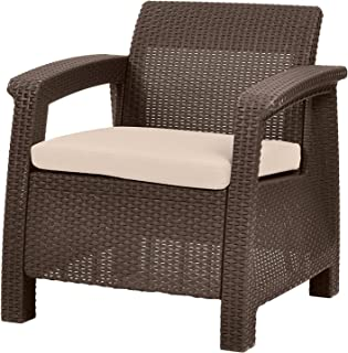 Keter 214769 Corfu Armchair All Weather OutdoorPatio with CushionsBrown, Brown