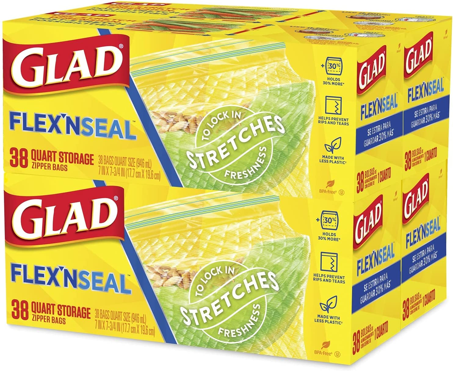 Glad FLEXN Seal Food Storage Easy-to-use Plastic Pa Quart - 38 5 ☆ very popular Count Bags