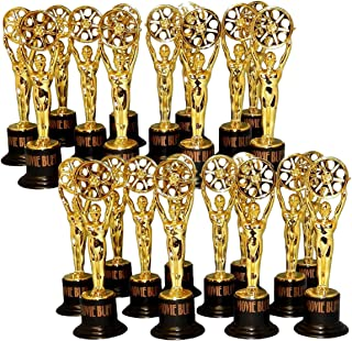 Fun Express 24 Movie Buff Gold Statues for Hollywood Movie Awards Parties Decoration