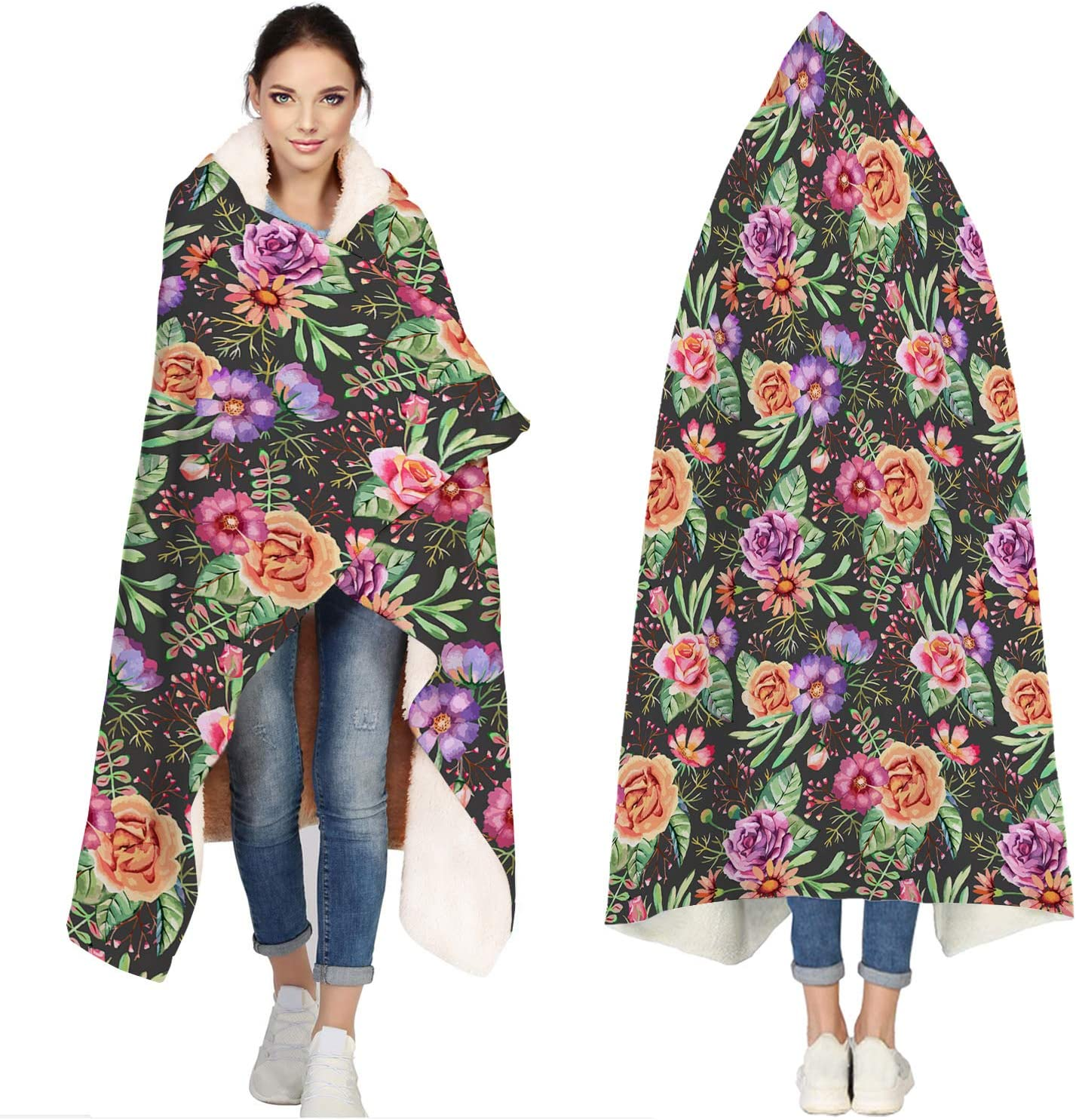 Seven Roses Hooded Super-cheap Blankets Inventory cleanup selling sale for Adults Watercolor Flowers Bat -