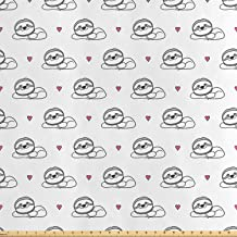 Lunarable Sloth Fabric by The Yard, Hand Drawn Sloths with Heart Pattern South American Animals with Smiles, Decorative Sa...