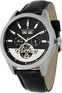 Herzog & Söhne men's automatic Watch with black Dial analogue Display and black leather Strap HS512-122