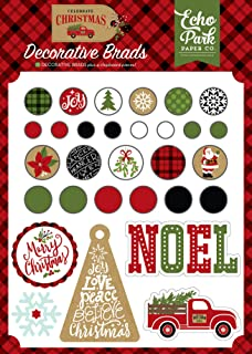 Echo Park Paper Company CCH159020 Celebrate Christmas Decorative Brads chipboard, Red/Green/Tan/Burlap/Black