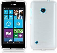 Cadorabo Funda para Nokia Lumia 530 en Plata - Cubierta Proteccíon de Silicona TPU Delgada e Flexible con Antichoque - Gel Case Cover Carcasa Ligera