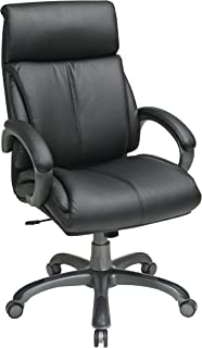 Office Star Executive Eco Leather Chair with Locking Tilt Control and Coated Base, Black