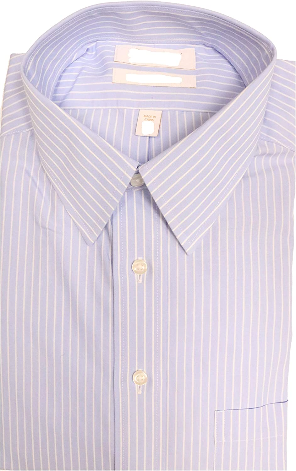 Gold Label Roundtree & Yorke Non-Iron Fitted Point Collar Stripe Dress Shirt S95DG115 Blue