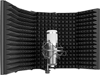 Neewer Pro Microphone Isolation Shield, 5-Panel Pop Filter, High Density Absorbent Foam Front & Vented Metal Back Plate, C...