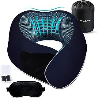 FYLINA - Almohada de Viaje con función de Apoyo de 360°, Espuma viscoelástica, para Viajes, casa y Oficina, Comodidad óptima, Suave Almohada Cervical (Azul)