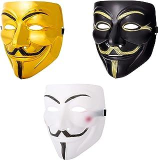 Ultra Negro Blanco y Dordo Adultos Guy Fawkes Mascara Hacker Anónima V de Vendetta Halloween Disfrace Disfraz Calidad Correa(3)