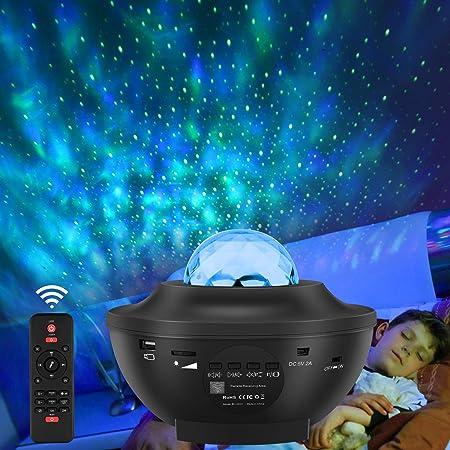 LED Sternenhimmel Projektor Lampe, Starry Music Projector mit Fernbedienung, Bluetooth Lautsprecher, 360°Drehen, 3 Helligkeitsstufen für Kinder Erwachsene Zimmer Dekoration, Galaxy Nachtlicht