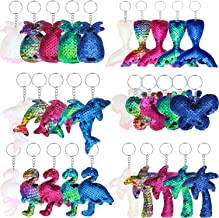 30 Pieces Sequin Keychains Flip Sequins Keychain with Pineapple, Flamingo, Palm Tree, Dolphin, Butterfly and Mermaid Tail Shape for Keys Handbags Wallets Party Supplies