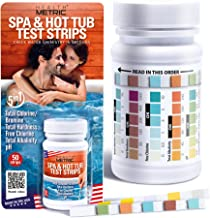 Spa and Hot Tub Test Strips | Made in USA | 5 Way Chemical Testing Strip Kit for Chlorine & Bromine Hot Tubs & Spas | Calibrated for Warm Water to Maximize Accuracy | Test TC/TB, FC, TA, TH, pH | 50ct