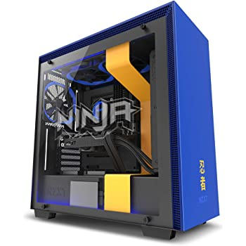 NZXT H700 - ATX Mid-Tower PC Gaming Case - Tempered Glass Panel - Enhanced Cable Management System – Water-Cooling Ready - Yellow/Blue