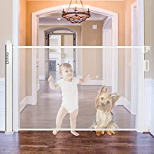 Dofulay New Retractable Baby Safety Gate,Extra Wide Kids&Pets Gate with Flexible Design and Easy Latch for Stairs,Doors-Mesh Baby Gate Fits More Spaces,White