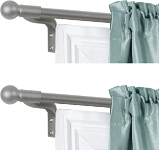 Zenna Home, Brushed Nickel, Smart Measuring Easy Install Adjustable Café Window, 48 to 120 in, with Ball Finials, 2-Pack o...