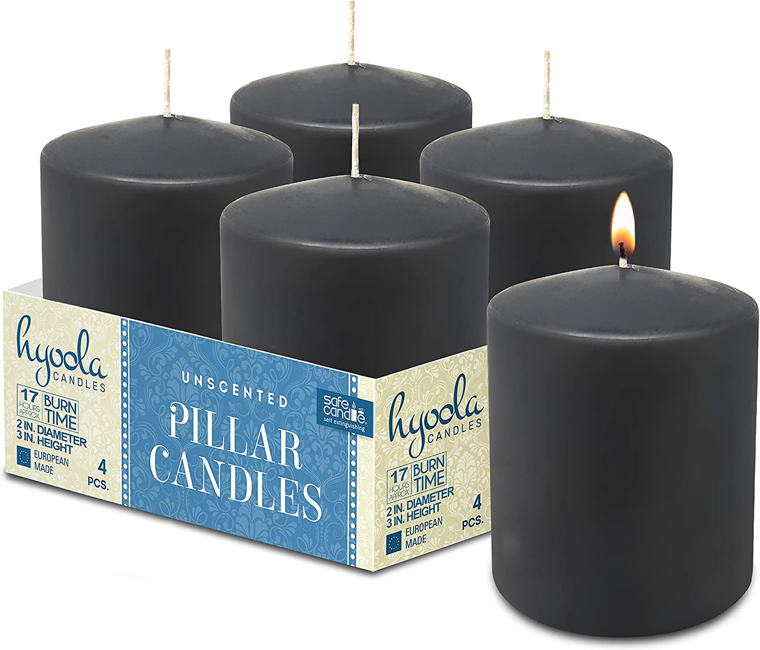 Hyoola San Jose Mall Dark Grey Pillar Candles 2x3 Inch Shipping included Pack Unscented 4 - Pill