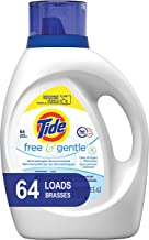 Tide Free and Gentle HE Laundry Detergent Liquid, 100 oz, 64 Loads, Unscented and..