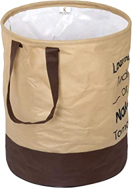 Kuber Industries Round Non Woven Fabric Foldable Laundry Basket , Toy Storage Basket, Cloth Storage Basket With Handles,45 Lt