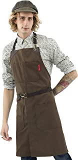 Under NY Sky No-Tie Chocolate Brown Apron - Durable Twill with Leather Reinforcement and Split-Leg - Adjustable for Men and Women - Pro Barber, Tattoo, Barista, Bartender, Baker, Hair Stylist, Server