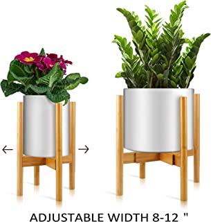 """Plant Stand Adjustable Plant Stand Mid Century Modern – Bamboo Wood Indoor Plant Holder – Adjustable Width 8"""" to 12"""""""