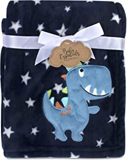 Baby Essentials Plush Fleece Throw and Crib Baby Blankets for Boys and Girls (Blue Dino)