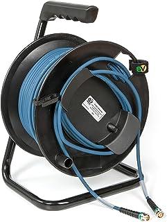 Emelec VíasCom R SDI 3006A/050 – 50 m Video Kabel 4K UHD 12G SDI (0.8/3.75/6.0) montiert auf Kabelhalter mit BNC 4K UHD – einseitiger Leiter – Farbe Blau – Flexibles PVC
