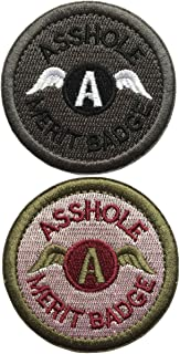 SpaceAuto Bundle 2 Pieces Set Asshole Merit Badge Military Tactical Morale Funny Patches - 2.48