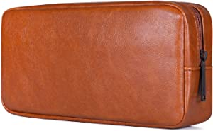 PU Leather Pencil Bag Pen Case, Large Capacity Students Stationery Pouch Pencil Holder Desk Organizer, Portable Pencils Pens Pouch for School and Office Supplies (Brown)