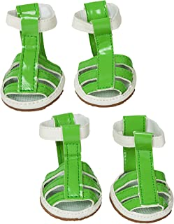PET LIFE 'Buckle Supportive' PVC Waterproof Pet Dog Sandals Shoes Booties - Set of 4, Small, Neon Green