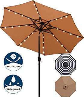 Blissun 9 ft Solar Umbrella, 32 LED Lighted Patio Umbrella, Table Market Umbrella, Outdoor Umbrella for Garden, Deck, Backyard, Pool and Beach (Tan)