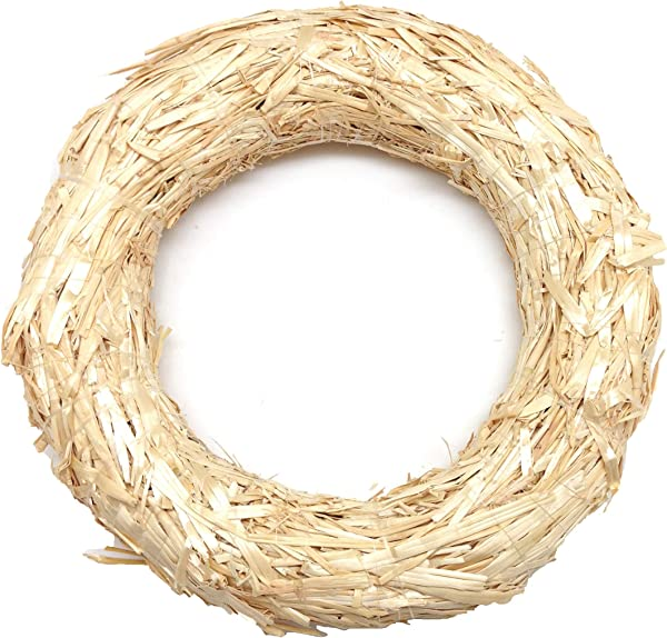 PEPPERLONELY Natural Base Straw Wreath 10 Inch
