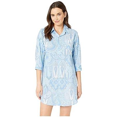 LAUREN Ralph Lauren 3/4 Sleeve His Shirt Sleepshirt (Blue Paisley) Women