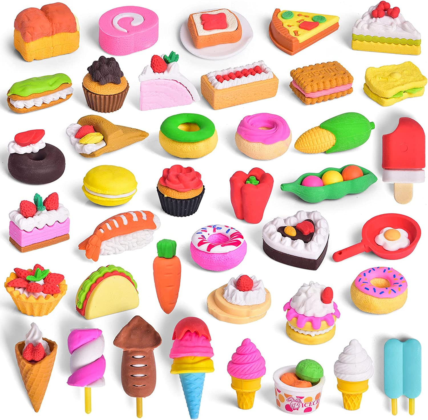 FUN LITTLE TOYS 40 Pack Pencil Erasers Toy for Kids, 3D Mini Puzzle Erasers Food Desert Fruit Erasers, School Rewards Classroom Game Prizes Treasure Box Party Favors for Kids Goodie Bags Carnivals