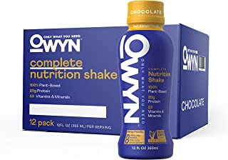 OWYN - 100% Vegan Plant-Based Meal Replacement Shakes | Chocolate, 12 Fl Oz (Pack of 12) | Dairy-Free, Gluten-Free, Soy-Fr...