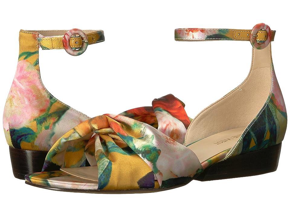 Nine West Lumsi Sandal (Yellow Multi Water Color Floral Crystal Satin) Women