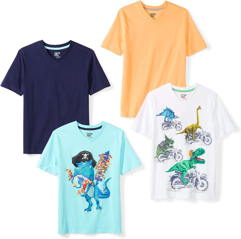 Spotted Zebra Boys' Short-Sleeve V-Neck T-Shirts