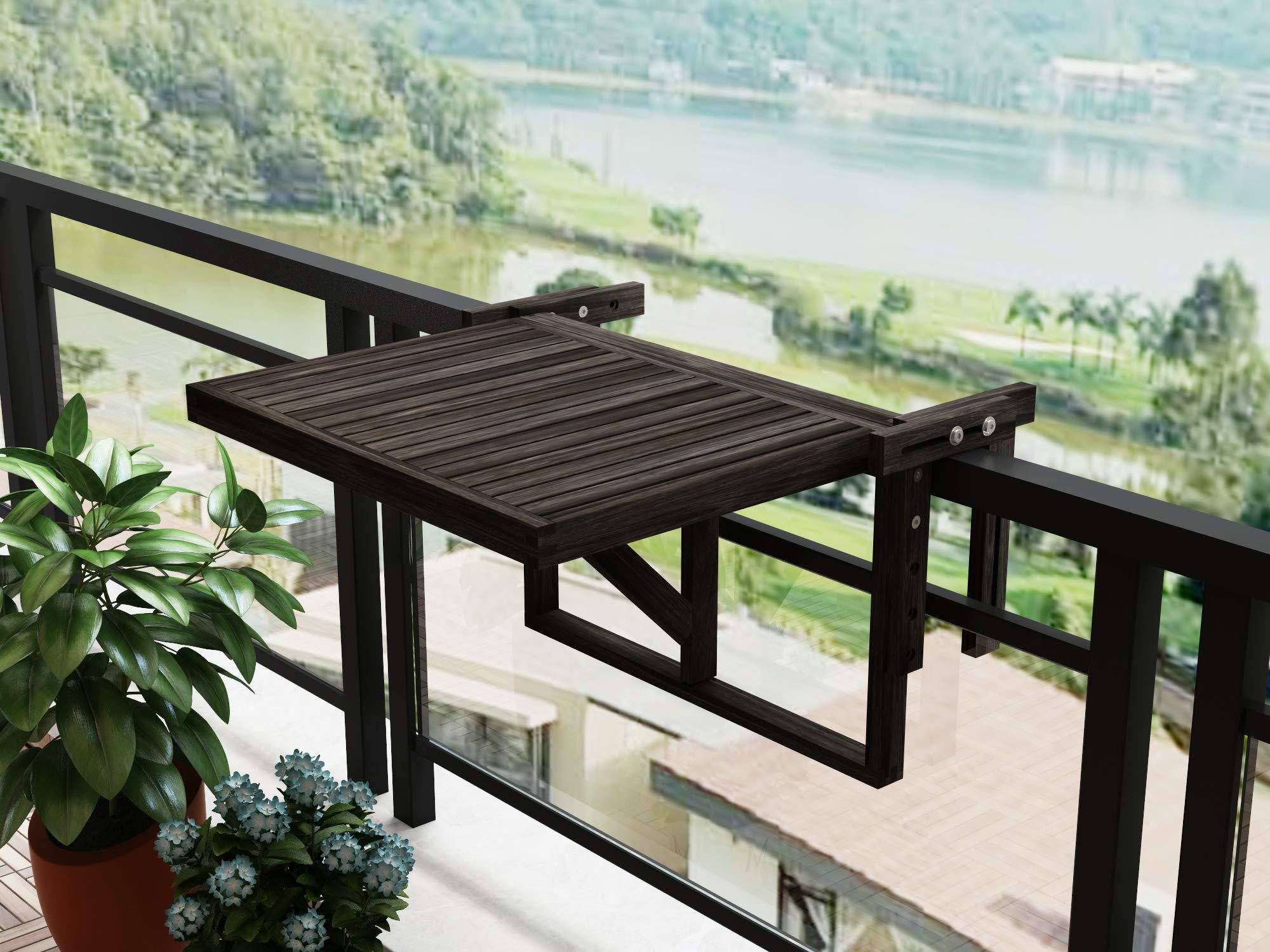 INTERBUILD Stockholm Mesa de terraza Plegable para balcón Ajustable FSC Madera de Acacia Color Espresso: Amazon.es: Jardín
