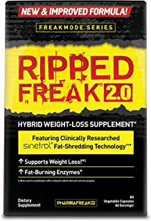 PHARMAFREAK Ripped Freak 2.0-60ct - Hybrid Weight Loss Supplement - SINETROL - Supports Weight Loss - Fat Burning Enzymes - Fat Shredding Technology