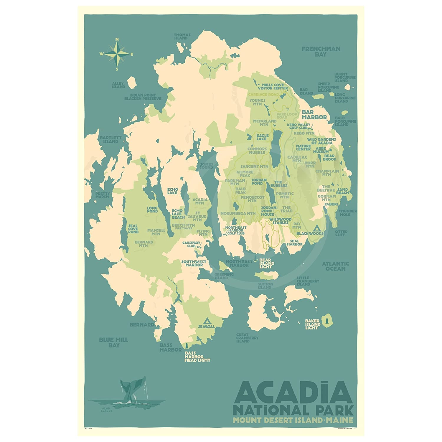 Acadia National Park Map Maine Print Wall 24x36 Dealing full price reduction Award-winning store Travel Poster