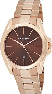 Akribos Xxiv Rose Gold Tone Case On Stainless Steel Rose Gold Tone Bracelet With Brown Dial and Rose Gold Tone Hands Ak948...