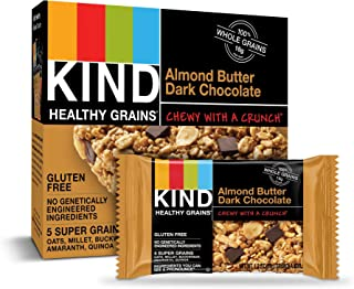 KIND Healthy Grains Granola Bars, Almond Butter Dark Chocolate, Gluten Free, 1.2 Ounce (Pack of 40)