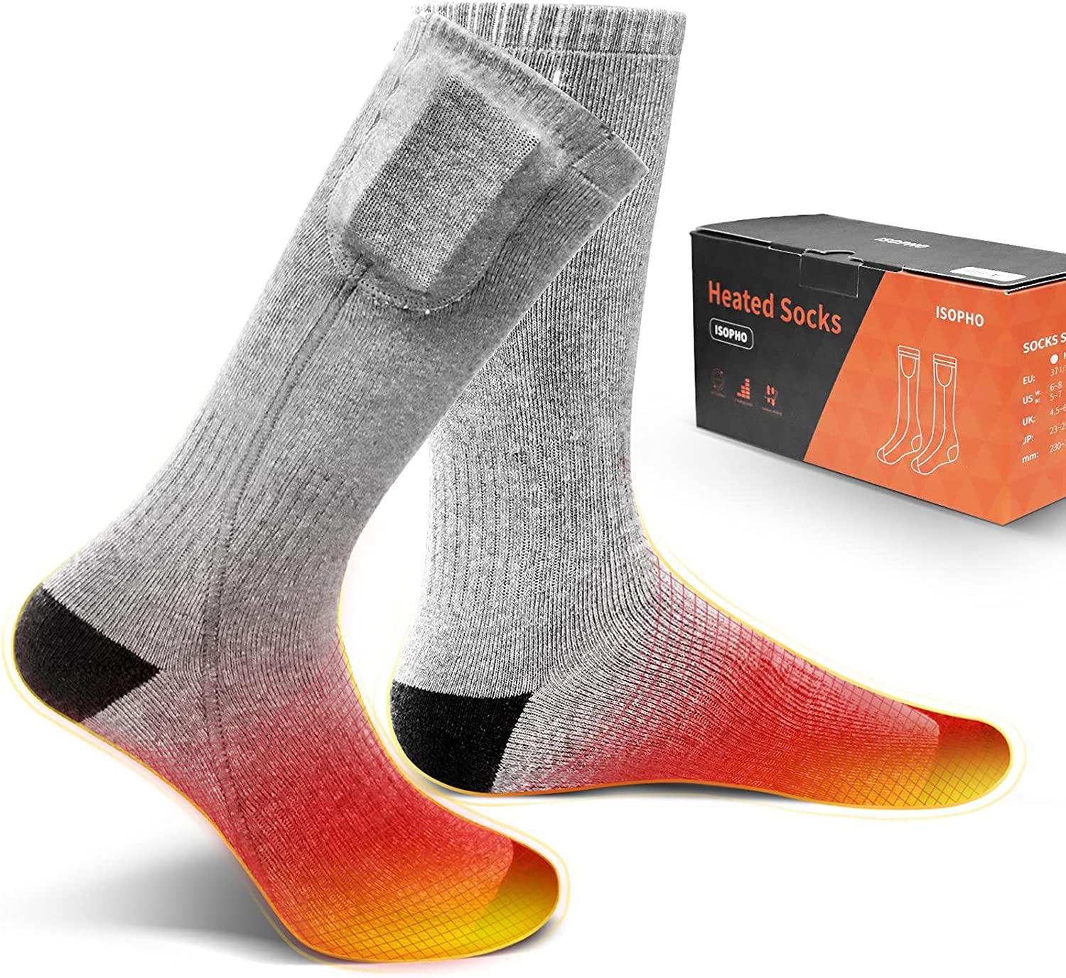 ISOPHO Rechargeable Japan's largest assortment Battery Heated Socks for Men 5 ☆ very popular Washable Women