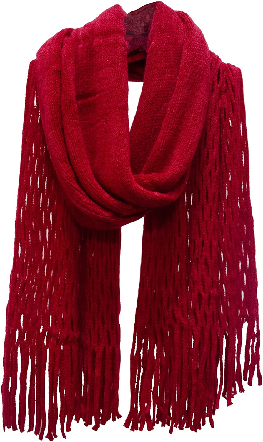 Honeycomb Fringed Knit Scarf Red
