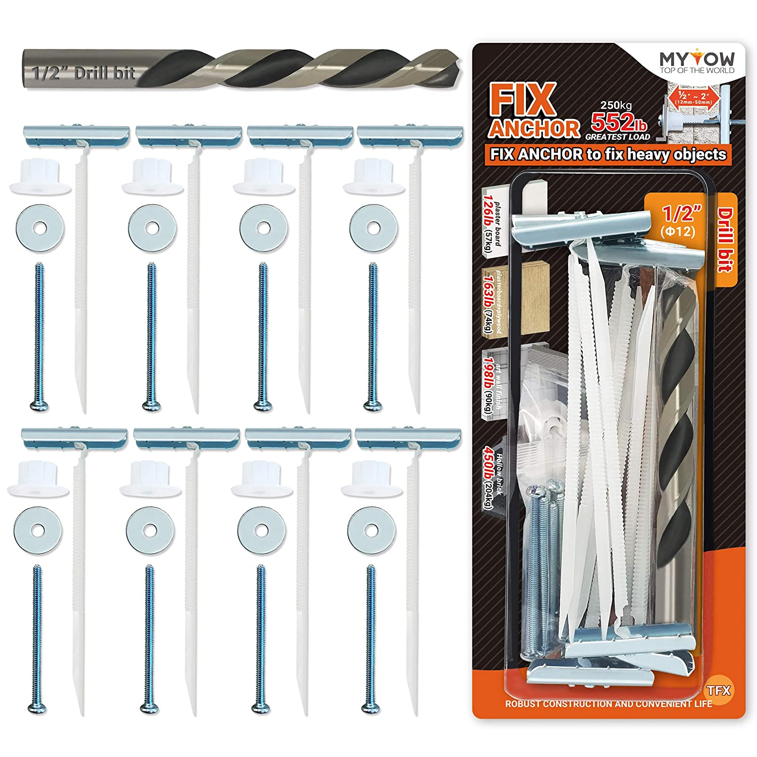 MYTOW FIX Heavy Duty cheap Toggle Drywall At the price of surprise Plywood Anchors Pack for