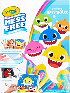 Crayola Baby Shark Coloring Pages, Color Wonder, Mess Free Coloring, Stocking Stuffer, Gift for Kids, Age 3, 4, 5, 6