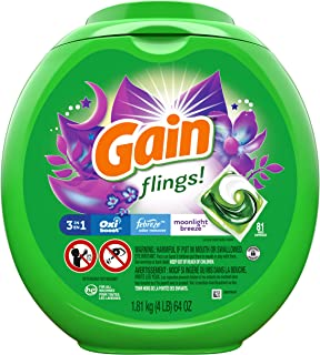 Sponsored Ad - Gain flings! Laundry Detergent Pacs plus Aroma Boost, Moonlight Breeze Scent, HE Compatible, 81 Count (Pack...